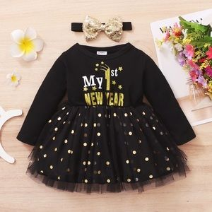 New year's dress with hair bow